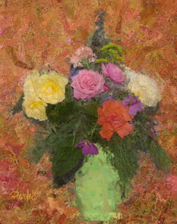 Flowers in a Green Vase - Pavelle Fine Art