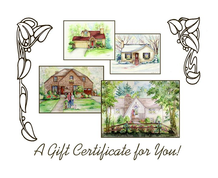 """8""""x10""""House Portrait Gift Card - Fine Art by Tina"""