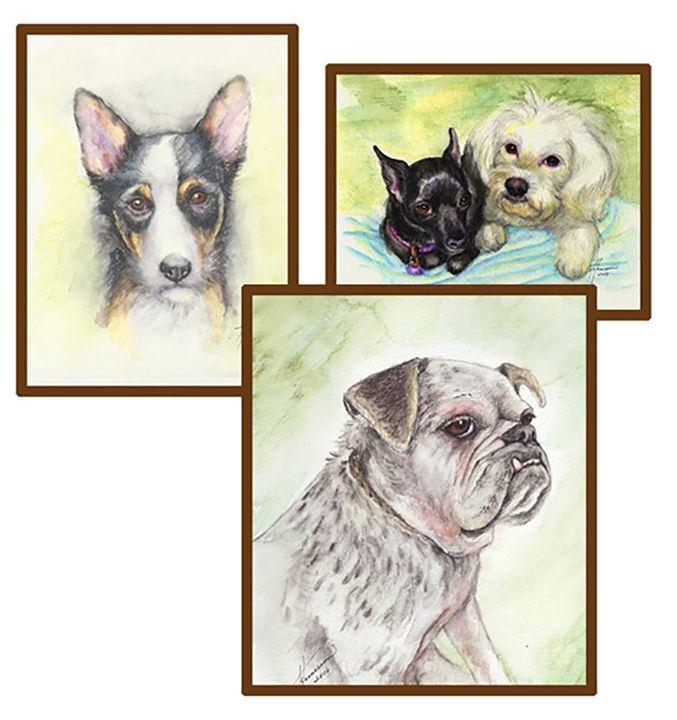Custom Pet Portrait - Fine Art by Tina