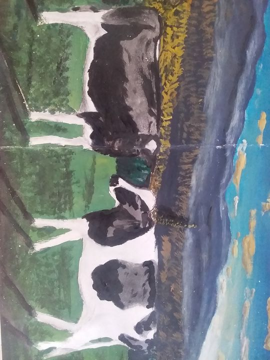 Cows in mountains - Violet's ART