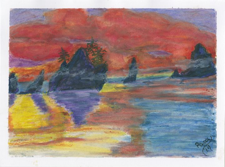 Orange Sunset - Whimsey by Patti Engle