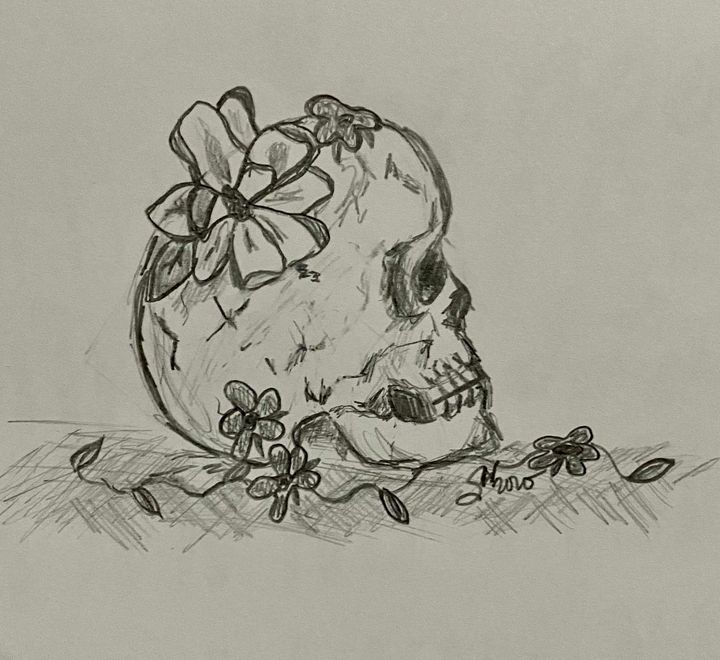 Skull and flowers - Stephanie Noel