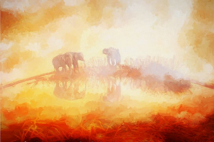 Elephants In The Mist - Painting - White Roe Art and Design