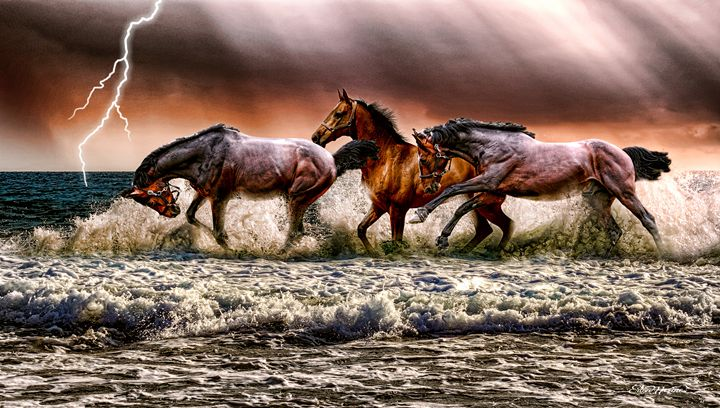 Spooked Horses In The Ocean - Digit - White Roe Art and Design