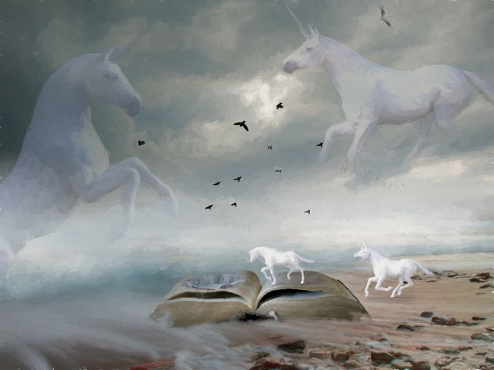 From The Book Of Unicorns - Painting - White Roe Art and Design