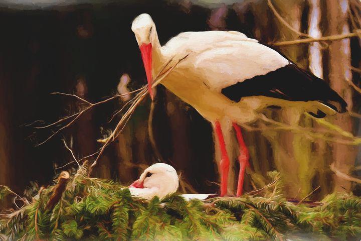 Stork Nest Building - Painting - White Roe Art and Design
