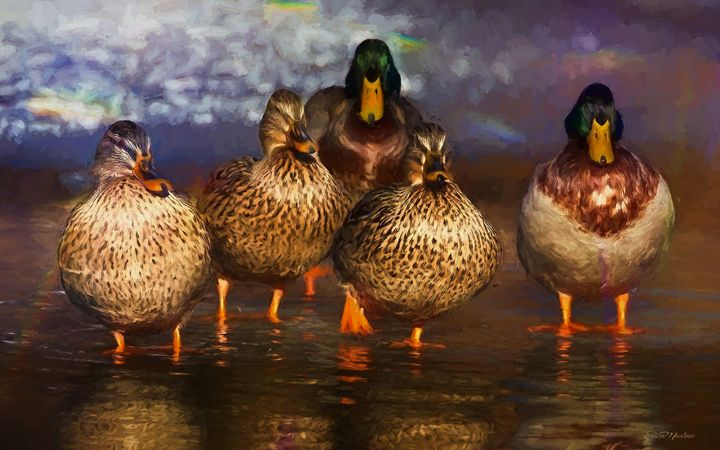 Mallard Family - Painting - White Roe Art and Design