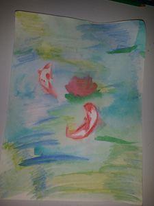 Watercolor Koi fish