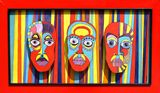 Original 3D Abstract Faces Framed