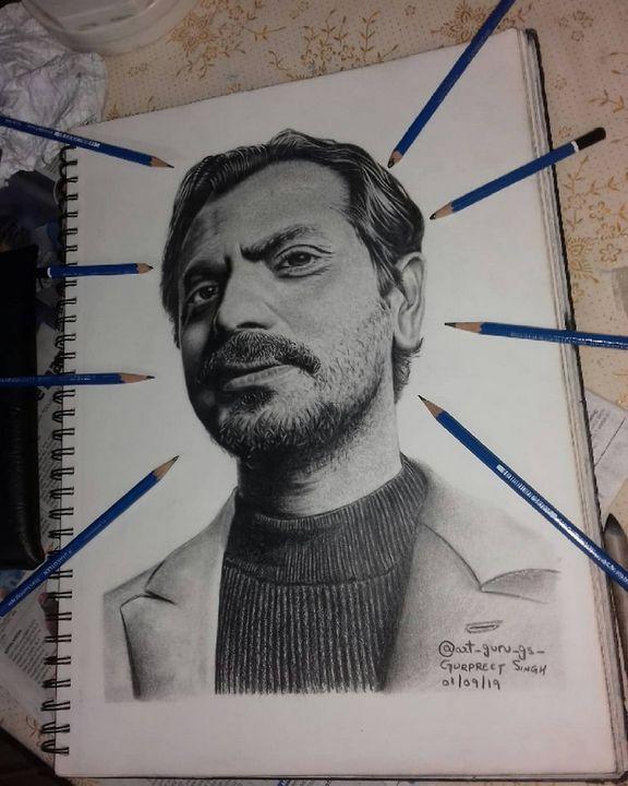Realistic pencil art of @nawazuddin - art_guru_gs_