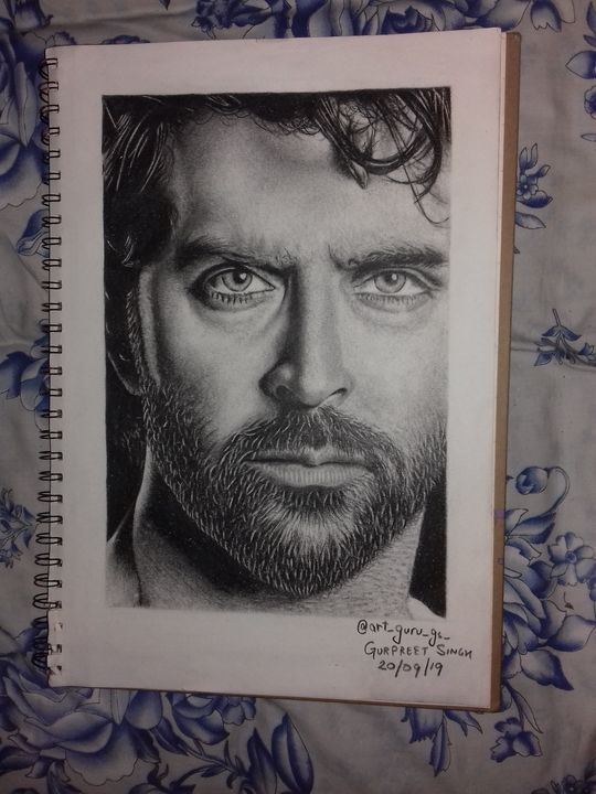 Realistic Pencil Sketch of @hrithik - art_guru_gs_