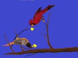 Bird Buddies Having Fun - Richardson's Unique Creations
