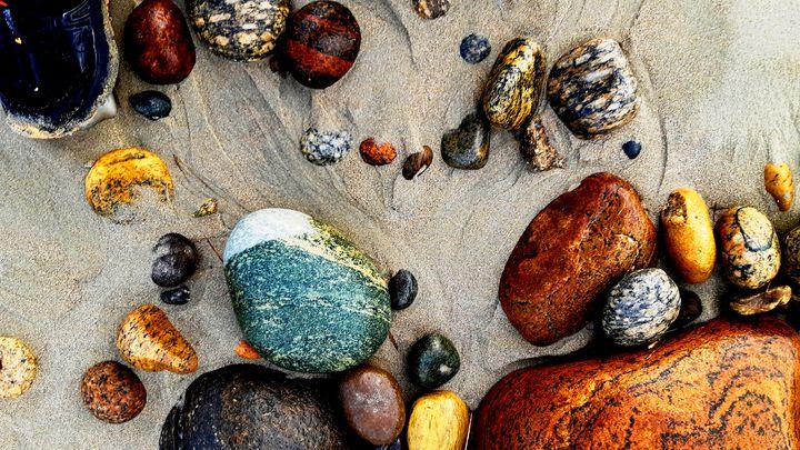 Coloured pebbles on Borestranda - Still Waters