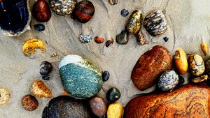 Coloured pebbles on Borestranda