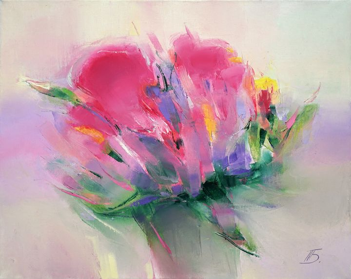 Pink flowers - painting