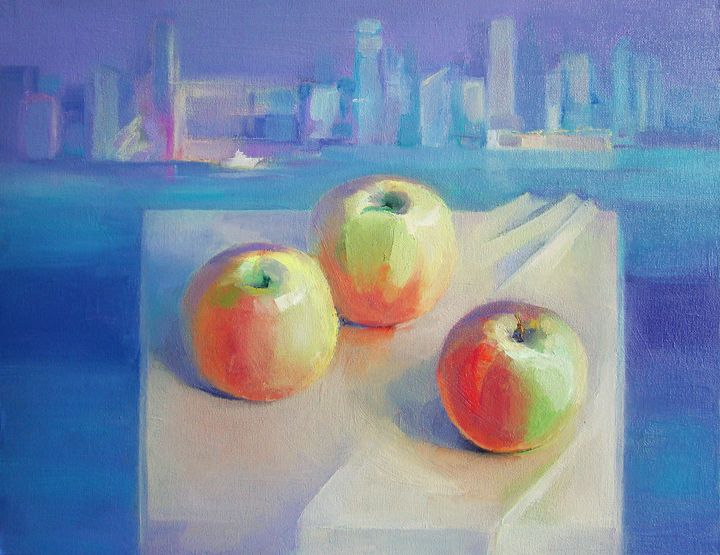 Apples on the table - painting