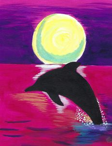 Pink Sunset With Dolphin