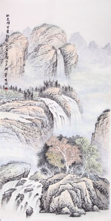 waterfall 3 - Chinese Paint