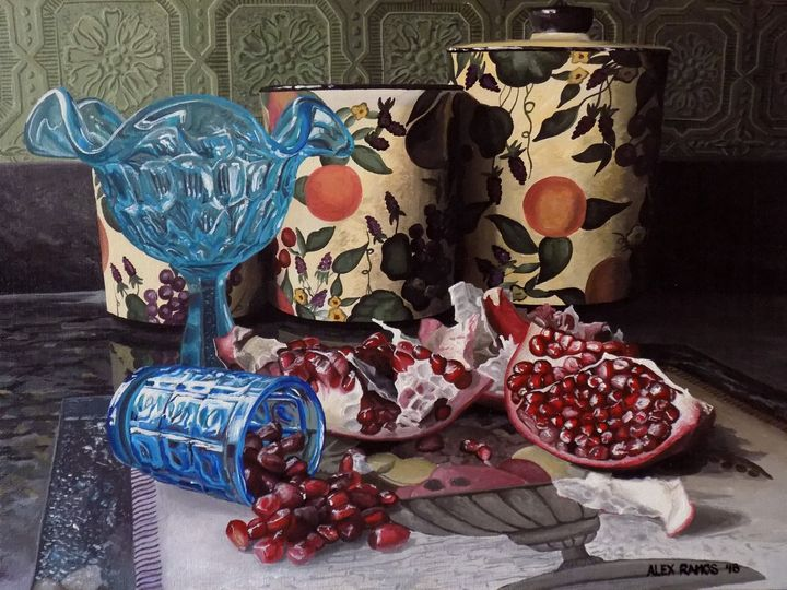 Pomegranate with Glass and Canisters - Alex Ramos