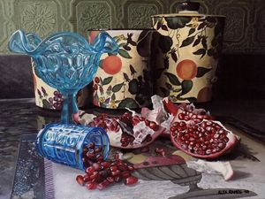 Pomegranate with Glass and Canisters