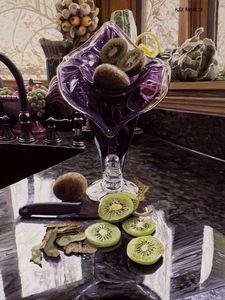 Purple Glass Vase with Kiwis