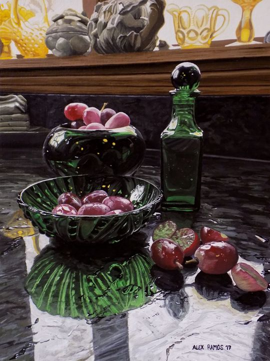 Green Glass and Red Grapes - Alex Ramos