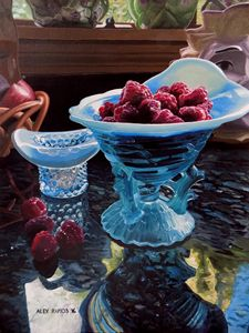 Red Raspberries in Teal Fenton