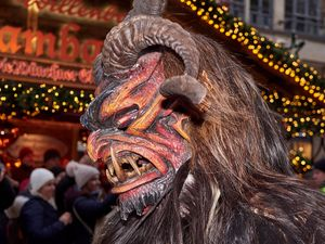 Red Krampus with Chritskindl Market