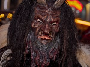 Dark wooden Krampus Mask
