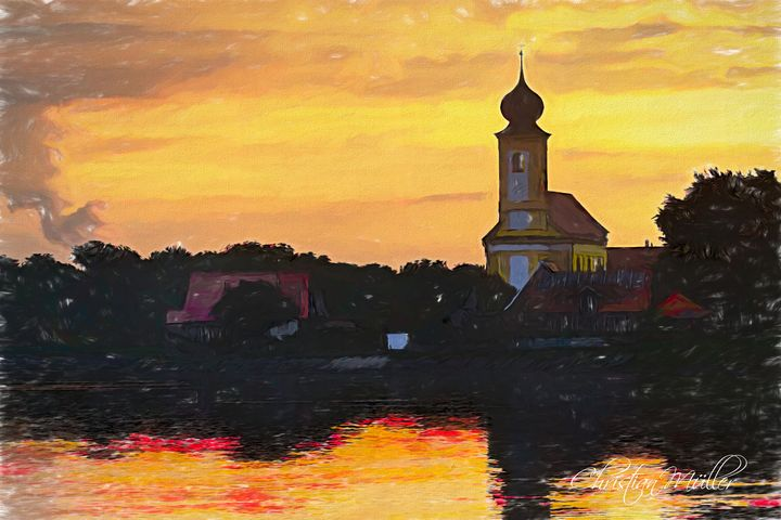 Painting of lake with church - Christian Mueller