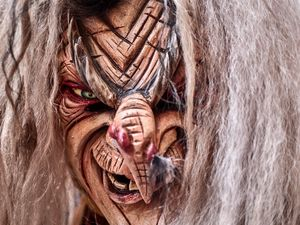 Krampus Witch wooden mask