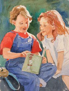 Kids reading Dr Seuss