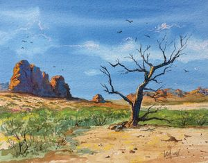 A lonely tree in the desert