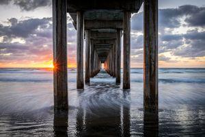 Pacific Ocean California Pier Sunset