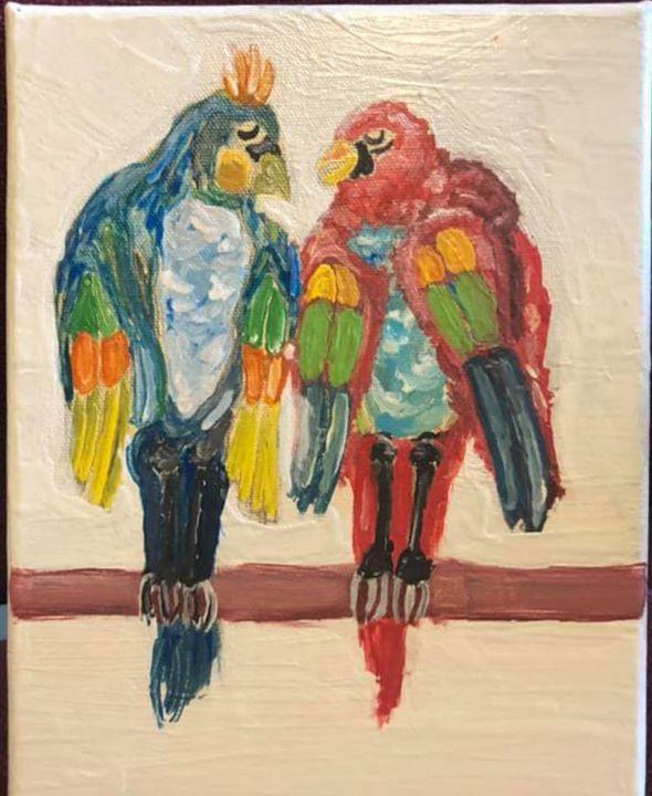 twin tropical parrots - Martinez