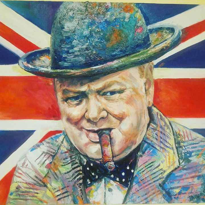 Painting of Winston Churchill by Ade - Donlineco