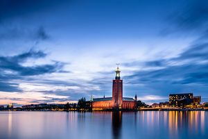 The Town Hall of Stockholm at sunset