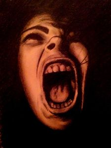 Original Charcoal Drawing - Scream