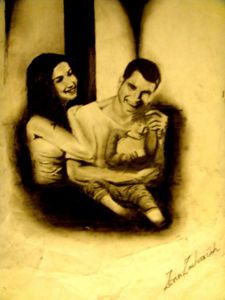 Original Charcoal DrawinHappy Family