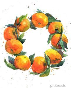 Watercolor wreath of tangerines
