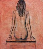 Pastel of Nude ladies back