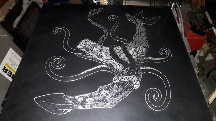 Squid vs Whale - Evolution Engraving Studios