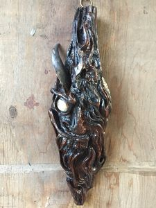 """""""Chili"""" carved pitchknot from cedar"""