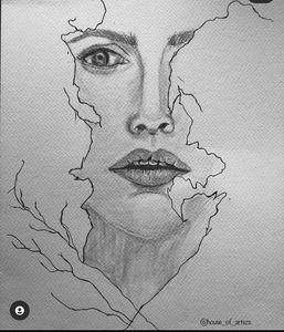 Pencil sketch pencil portrait abstra