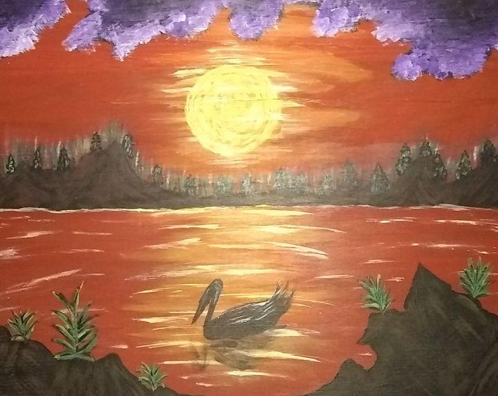 Pelican Sunset - Acorn Art