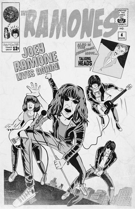Joey Ramone Lives! (Black and White) - Art of Eric Pabon