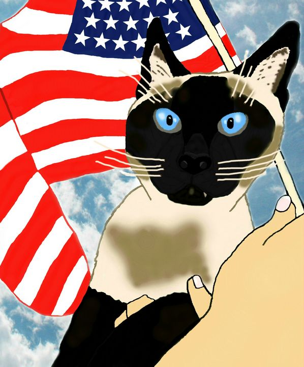 """Patriotic Siamese Cat Beauty"" - Shelli Misoyianis"
