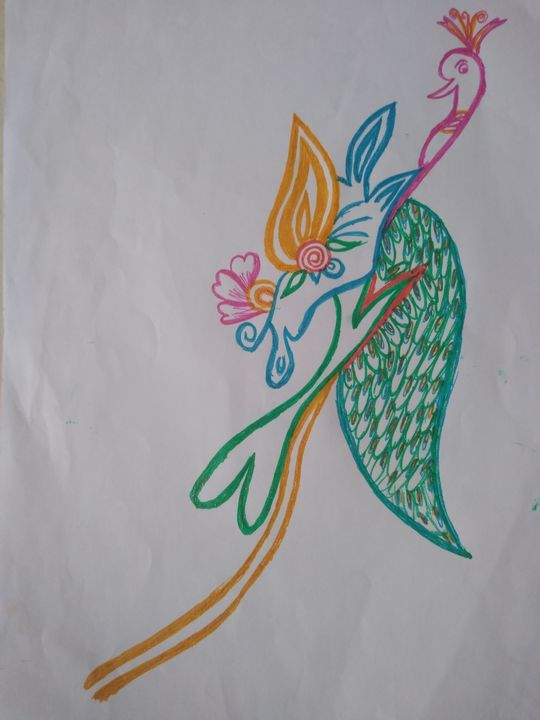 Peacock on branch - NANDHINI