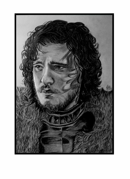 Pencil Portrait of Kit Harrington - BanasDesign