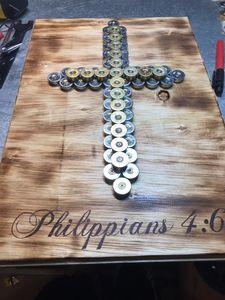 "Shotgun shell cross ""Philippians 4:6"